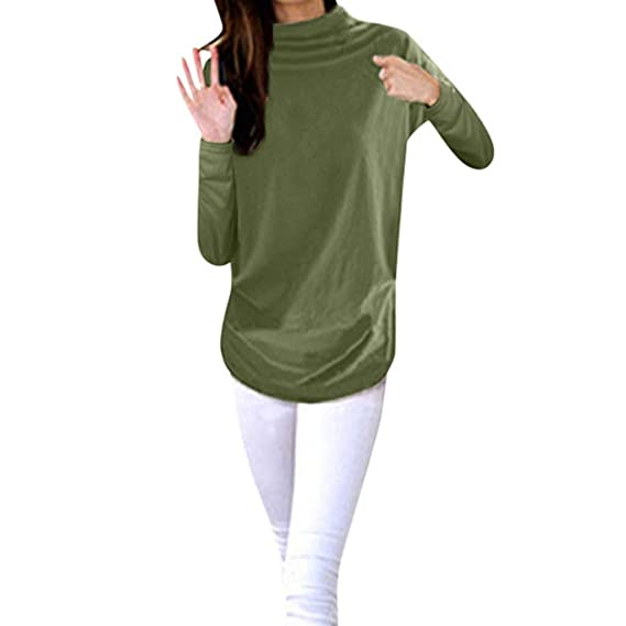 VEZAD Store Womens Loose Tunic T Shirts Casual Turtleneck Solid Long Sleeve Autumn Tops Blouse
