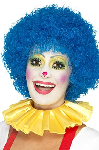 Ladies Mens Clown Neck Ruffle Yellow Pink Blue Green Carnival Festival Circus Fancy Dress Costume Accessory -