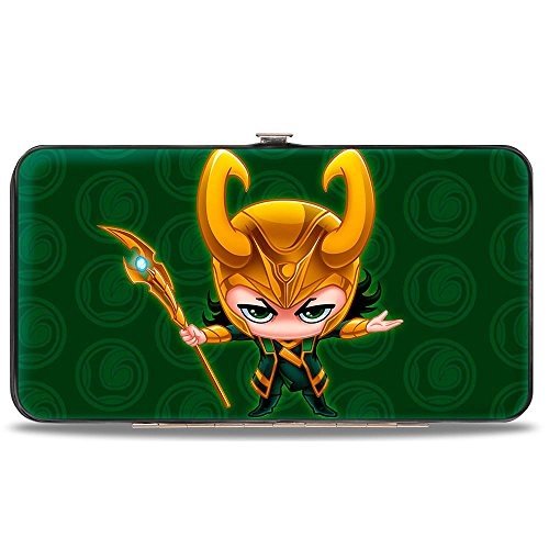 Hinge Wallet (Buckle-Down Hinge Wallet - Chibi Thor Pose + LOKI/Loki Logo Greens/Gold)