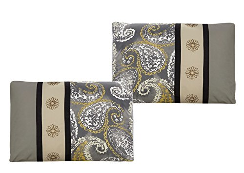WPM 7 Piece Bedding set Grey Beige Taupe Comforter with the help of Accent pillows King size Bed in a pouch Paisley