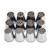 12pcs/set Russian Icing Piping Nozzles Cake Decoration Tips Home Baking DIY Tool Tulip Rose Nozzle Tip