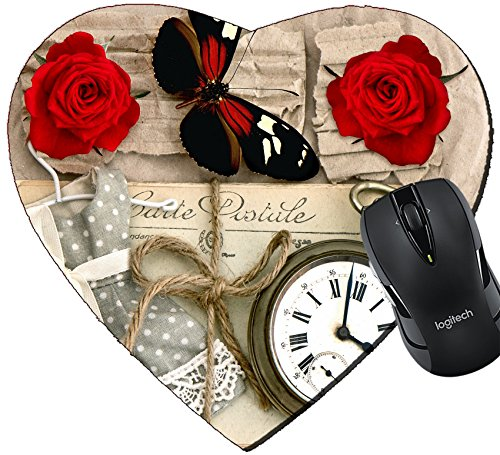 MSD Mousepad Heart Shaped Mouse Pads/Mat design 29663850 old love post cards and vintage clock red rose flower valentine heart and butterfly nostalgic romantik background (Shaped Post Flower)