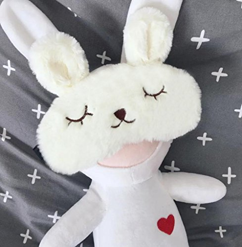 ACCOCO DS-Space Adjustable Silk Eye Mask with Lovely 3D Cute Rabbit Face Soft Eye Bags Sleeping Blindfold cover for Kids Girls Adult for Yoga Traveling Sleeping Party (The Rabbit)