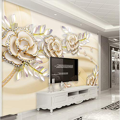 3D Decorations Wall Murals Stickers Wallpaper Home Decoration Flower European Style Suitable Living Room Bedroom Decoration Art Kids Room (W)200X(H)140Cm from VVNASD