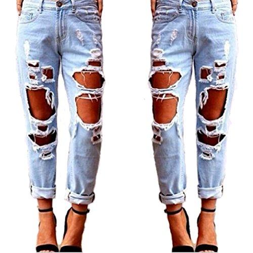 jeans Destroyed dchirs slim Fit femmes Straight femme Ripped jeans Jean femme en skinny femme Leg Jeans pantalon Holes Denim Bleu Jeans bleu qZzZSA