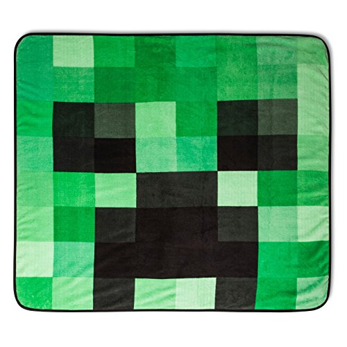 "Price comparison product image Minecraft Plush Throw Blanket Creeper 53"" x 53"" Super Soft"