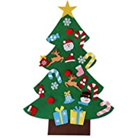 3ft Ensemble d'arbre de Noël en feutre de avec 26 ornements détachables Cadeaux de Noël pour Noël pour les enfants Porte-manteau Décoration murale de porte par Futurepast