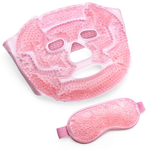 Ice Mask, Gel Eye Face Mask, Hot Cold Therapy for Migraines, Headache, Stress, Sinus Pain, Puffy Eyes, Dark Circles, Skin Care, Soft Fabric, Reusable, Pink ()