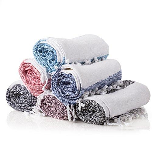 Gute Turkish Towels Bath Beach Hammam Towels, Extra Large Hammam Towel Wrap Pareo Fouta Throw Peshtemal Towel SET of 6 100% Natural Turkish Cotton Foua Blanket Set (Assorted) by Gute