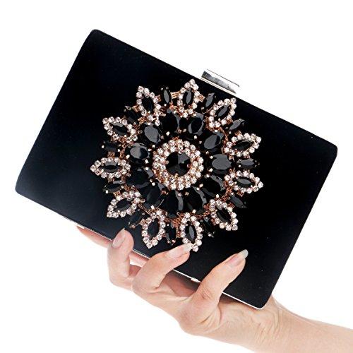 fête de de 5x12x18cm crystal Femmes 2x5x7inch le Sac strass à Noir Pour bal clutch soirée main de mariage de purse rouge soirée sac Oxw8RqZx