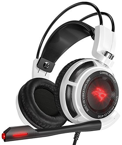 Sentey GS-4731 Virtual 7.1 USB DAC Arches with Vibration Intelligent 4d Extreme Bass Gaming Headphone with In-line Control - White (Msi Headset)