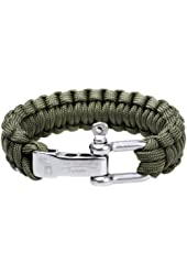 """The Friendly Swede Paracord Survival Bracelet with Stainless Steel D Shackle - Adjustable Size Fits 7""""-8"""" (18-20 cm) Wrists"""