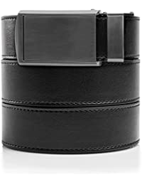 SlideBelts Men's Vegan Leather Belt without Holes - Gunmetal Buckle / Black Leather (Trim-to-fit: Up to 48