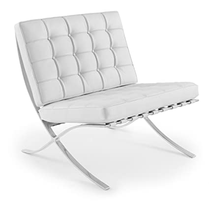 Set Of 2 Barcelona Chairs In WHITE Leather Chair Replica Of Mies Van Der  Rohe Chairs