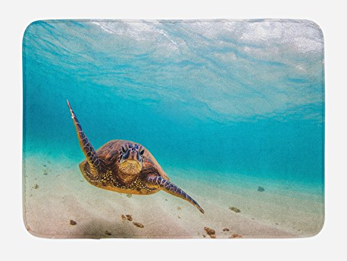 (Lunarable Hawaiian Bath Mat, Underwater Scuba Diving Sea Turtle Nature Animal Swimming Wildlife Theme, Plush Bathroom Decor Mat with Non Slip Backing, 29.5 W X 17.5 W Inches, Blue Beige Brown)