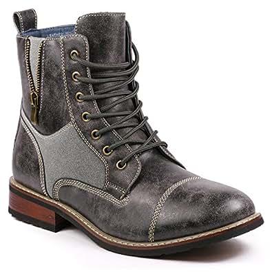 Metrocharm MET525-10 Men's Lace Up Cap Toe Military Combat Work Desert Ankle Boots (6.5, Gray)