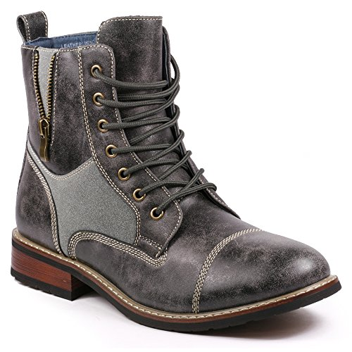 Metrocharm MET525-10 Men's Lace Up Cap Toe Military Combat Work Desert Ankle Boots (9.5, Gray)