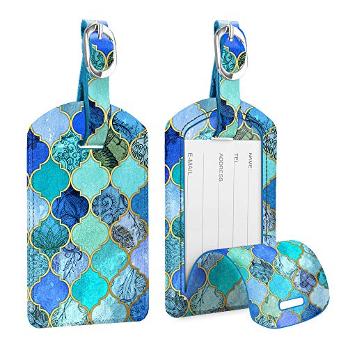 [2 Pack] Luggage Tags, Fintie Leather Name ID Labels with Back Privacy Cover for Travel Bag Suitcase,