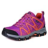 The First Outdoor Women Waterproof Breathable Climbing Walking Hiking Shoes Sneaker, US 8.5 Purple/Orange
