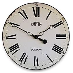 Roger Lascelles Clocks GAL/SMITHS/WHITE Wall Clock,White,Large