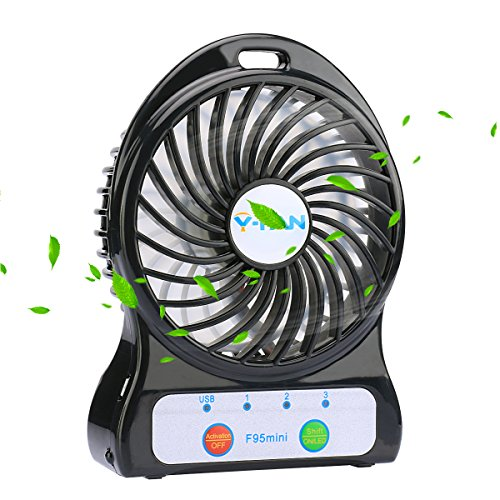 Small Travel Fan : Mini battery operated fan portable personal handheld tiny