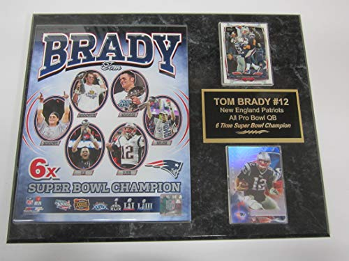 Tom Brady New England Patriots 2 Card Collector Plaque w/8x10 Photo 6 TIME Super Bowl Champion
