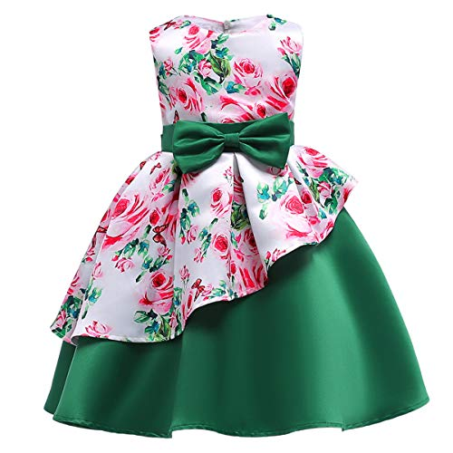 Girls Dress With Headband Green Leaves Bow Party Pageant Holiday Kids Clothing