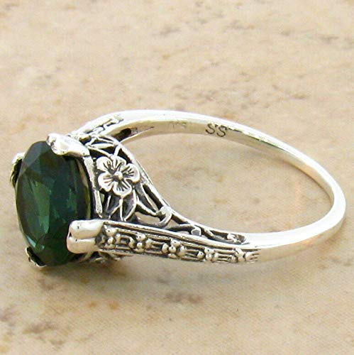 2.5 CT SIM Emerald .925 Sterling Antique Design Silver Ring Size 8.75 KN-2634