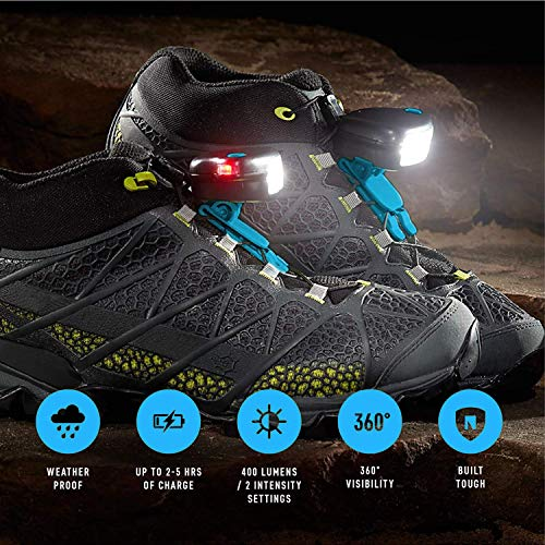 Night Trek X Tactical Shoe Lights - Robust, Waterproof & Extreme Weatherproof Gear for Long Running, Cycling, Hiking or Night Shift Hours - Rechargeable Long Lasting Battery for Peak Safety for Night Time & Low Light Conditions
