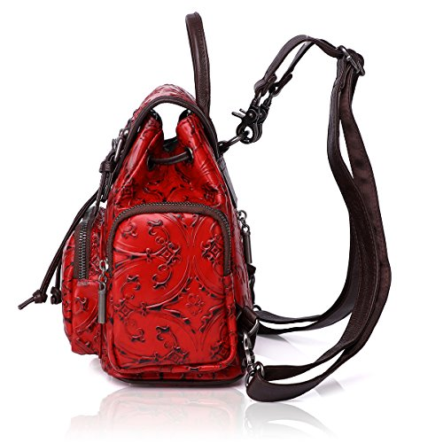 Shoulder 83033 Rucksack Women APHISON RED Embossing Leather Purse Backpack Bag Ladies x7qYqHzn0w