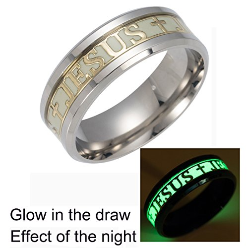 Jesus Cross Rings For Men Women stainless steel Luminou Glow Wedding Band Jewelry (9)