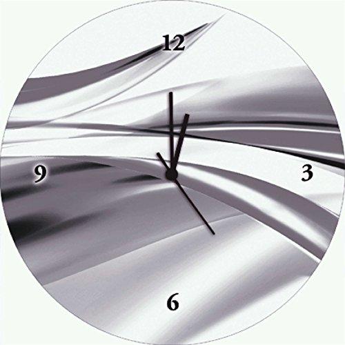 Artland Qualitätsuhren I Funk Wanduhr Designer Uhr Glas Funkuhr Größe: 35 Ø Gegenstandslos Grau H8GD
