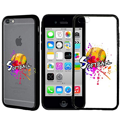 ([Inkmodo] Clear TPU Case for iPhone 6 / 6S - Colored Softball Printed Unique Design Pattern Cover)