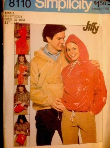 - Simplicity 8110 Sewing Pattern for Misses or Mens 32-34 Chest, Small, Jiffy Hooded Windbreaker Jacket