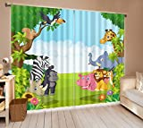Cartoon Animals in Jungle House Decor Window Curtain by LB, Wildlife Forest Kids Boys Room Curtain Drapes, Living Room Decoration Window Treatment, 80x84 Inches (2 Panels Size)