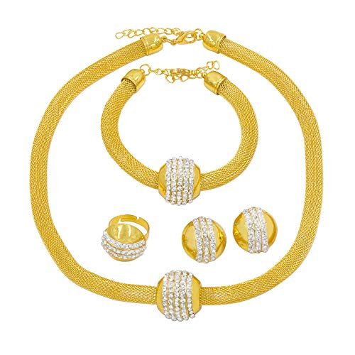 Fashion Dubai Jewelry Set for Women Jewellery Crystal Beads Gold Necklace Earrings Ring Bracelet Gift
