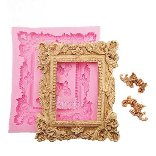 Anyana Large Mirror Frame Scroll Fondant Cake Silicone Mould Chocolate mold Sugarcraft Retro candy cookie tool