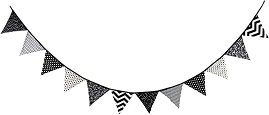 Multi Colored Fabric Bunting For Party Birthday Wedding Anniversary Celebration Baby Shower(Black & White)