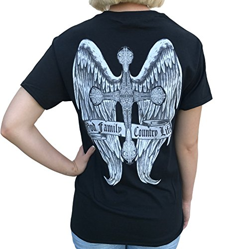 Country Life Cross and Angel Wings Black Short Sleeve Shirt