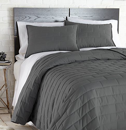 Southshore Fine Linens - The Brickyard Collection - Lightweight, 3 Piece Quilt Set, Full/Queen, Slate