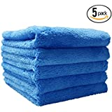(5-Pack) THE RAG COMPANY 16 in. x 16 in. Eagle Edgeless Blue Professional Korean 70/30 Super Plush 480gsm Microfiber Detailing Towels