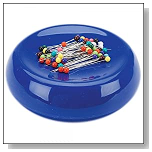 Grabbit Magnetic Sewing Pincushion with 50 Plastic Head Pins, Blue