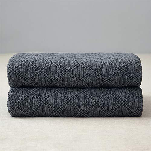 (Longhui bedding Charcoal Grey Cotton Throw Blanket for Couch Sofa Bed - Home Decorative Soft Cozy Sweater Fall Cable Knit Blankets -Dark Gray 2.2 pounds 50 x 60 Inch)