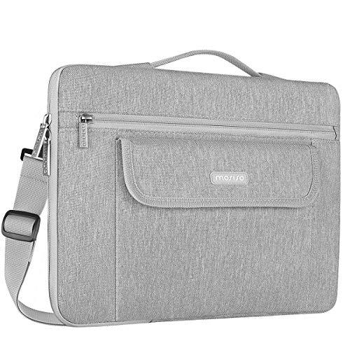 MOSISO 360° Protective Laptop Shoulder Bag Compatible 13-13.3 Inch MacBook Pro, MacBook Air, Notebook, Flapover Shockproof Messenger Telescopic Briefcase Carrying Handbag Sleeve Case, Gray