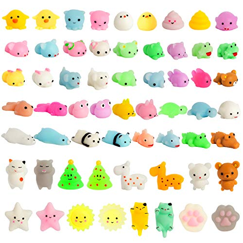 Kizcity 60 Pcs Mochi Squishies, Kawaii Squishy Toys for Party Favors, Animal Squishies Stress Relief Toys for Boys…