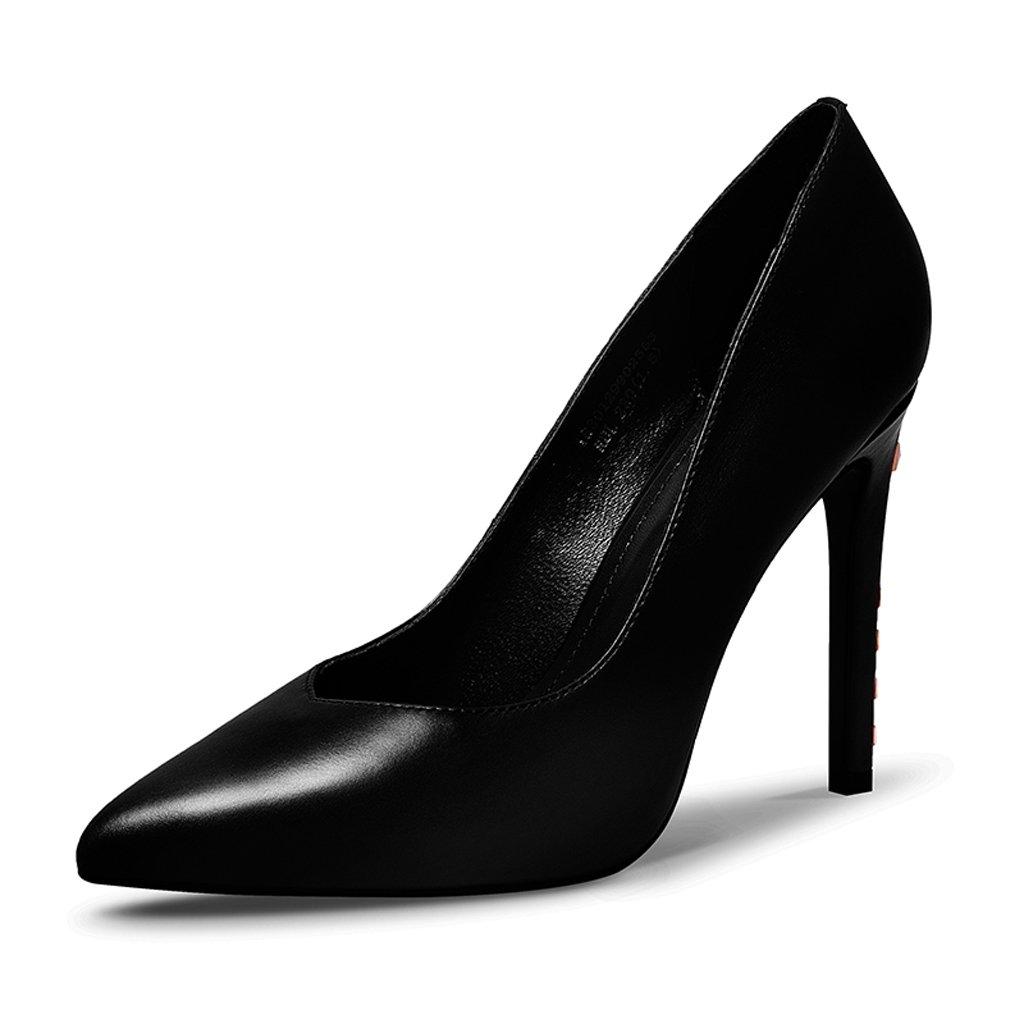 Zapatos de Tacón Alto Impermeables de Plataforma Zapatos remachados finamente con Zapatos de Mujer 35 EU Negro