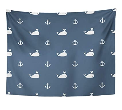 Amazon Com Emvency Tapestry Wall Hanging Anchors Whales On Blue