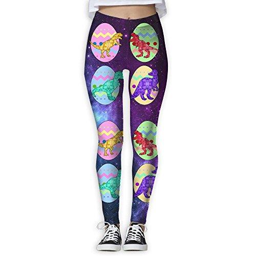BXVGSWEHSM Easter Dinosaur Baby Egg Women's Slim Workout Full Length Yoga Pant Skinny Leggings Pants ()