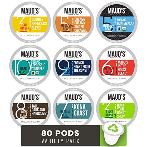 - Maud's 9 Flavor Coffee Variety Pack, 80ct. Recyclable Single Serve Coffee Pods - Richly satisfying arabica beans California Roasted, k-cup compatible including 2.0