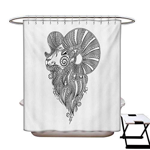 Zodiac Aries Shower Curtains Sets Bathroom Rams Head in Henna Mehndi Tattoo Style Doodle Ethnic Curly Artwork Satin Fabric Sets Bathroom W69 x L70 Black White